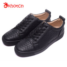 2017 New Snake-Print Leather Zapatillas Deportivas Hombre Men's Flats Espadrilles Red Round Toe Bottom Lace-Up Shoes Male Men