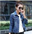 Vintage Rivet Single-Breasted Denim Jacket New Spring Slim Korean Long-Sleeved Short Casaco Feminino 2015 Coats For Women