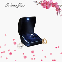 Black PU Leather Engagement Proposal Ring Box With LED Light Jewelry Storage Showcase Wedding Packaging Display