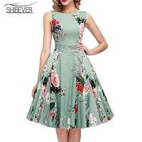 SHIBEVER New Fashion Summer Women Dresses Elegant Sleeveless Printing Casual Party Dress Classic O-neck Ladies Dresses LD07