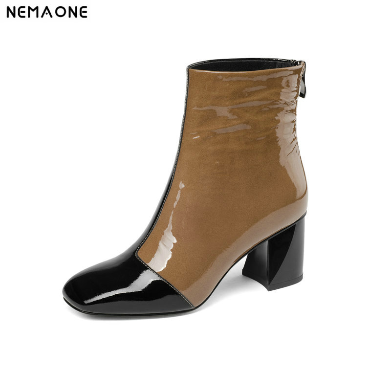 NemaoNe genuine Leather Shoes Women Ankle Boots Autumn Thick High Heel Martin Boots Zip Winter Handmade Leather Shoes Boot цены онлайн