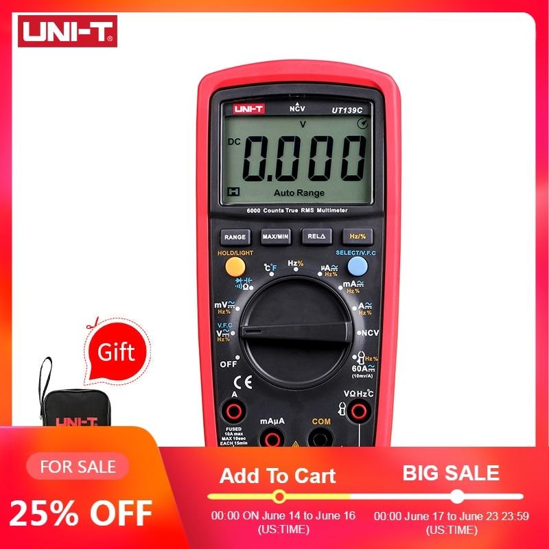 UNI-T UT139C multimètre numérique gamme automatique véritable RMS compteur condensateur testeur portable 6000 compte voltmètre température