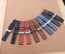 Handmade Thicker Leather smooth Dark Brown Watch band Strap 20mm 22mm 24mm 26mm Bracelets For Mechanical watch military watches