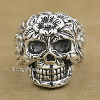 925 Sterling Silver Flower Skull Mens Biker Punk Ring 9W005 US Size 7.5 to 13