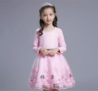 Multicolor Girls Dress Tulle Bridal Lace With Flower Detailing Wedding 2017 Autumn Princess Party Dresses Kids