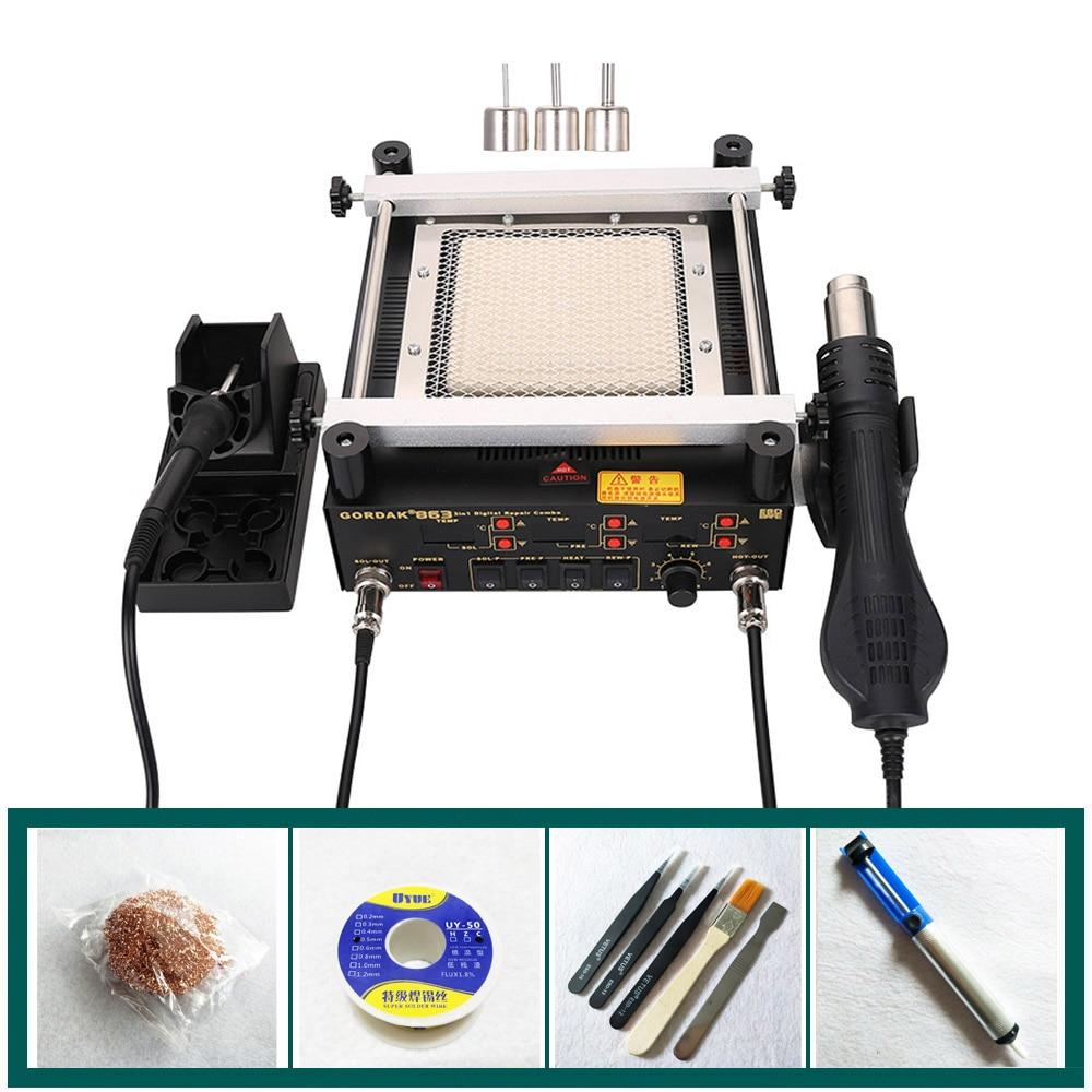 BGA Rework Solder Station 3 in 1 Digita Electric Soldering iron Hot Air Heat Gun IR Infrared Preheating Station Gordak 863 цены онлайн