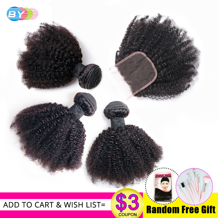 BY Mongolian Afro Kinky Wave Human Hair Extensions With Closure 3 Bundles With Closure Remy Hair