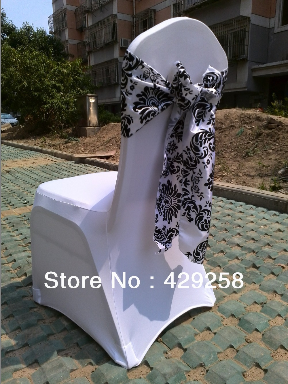 chair cover elegance reclining camping chairs free shipping 50pcs white and black flocking taffeta sash also call damask corset