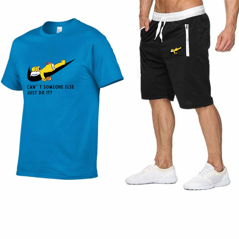 Image 5 - 2019 Men Fashion Summer Brand t shirt 100%cotton Sporting tops TrackSuit suit tees+casual shorts two Pieces Set mens clothing-in Men's Sets from Men's Clothing