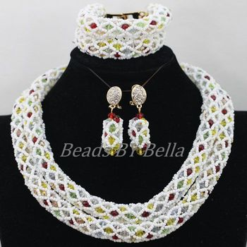 African Wedding Beads Jewelry Set Nigerian Fashion White Braid Crystal Bridal Jewelry Sets Necklace New Free Shipping ABF852