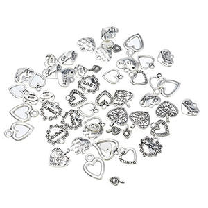 nrpfell 30pcs Pendants Jewelry Making Silver Heart Charms