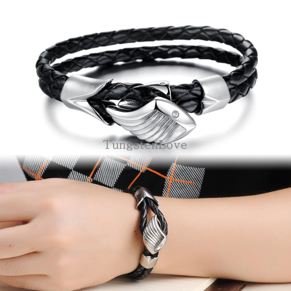 22cm Double Layers Black Leather Warp Bracelet Mens Bracelets 2015 Vintage  Angel Wings Braided Wristband (