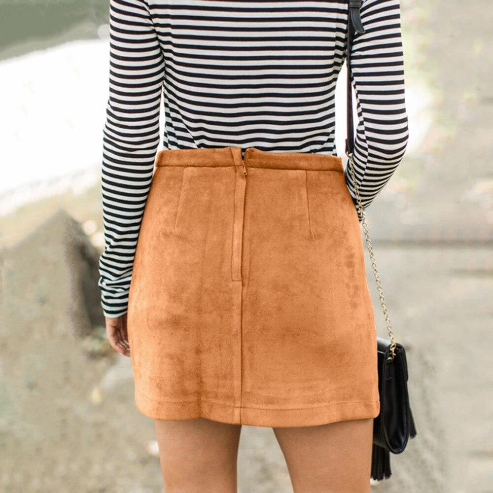 bb57fc9fc Womens Sexy Slim Suede Faldas Lápiz Para Mujer Otoño Invierno Europa y  América Estilo Moda Botón Mini bolsillo Falda