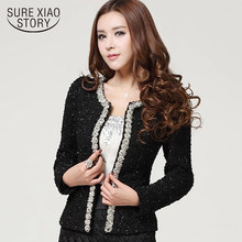 abrigos mujer invierno2019 long sleeve cardigan plus size coat women women fashion elegant Beading Diamond women jacket 661B 100(China)