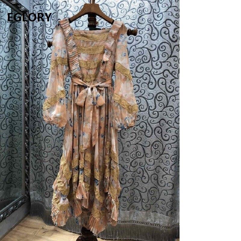 High Quality Designer Women's Dress 2019 Spring Autumn Women Square Collar Vintage Print Lace Patchwork Evening Vestidos Festa