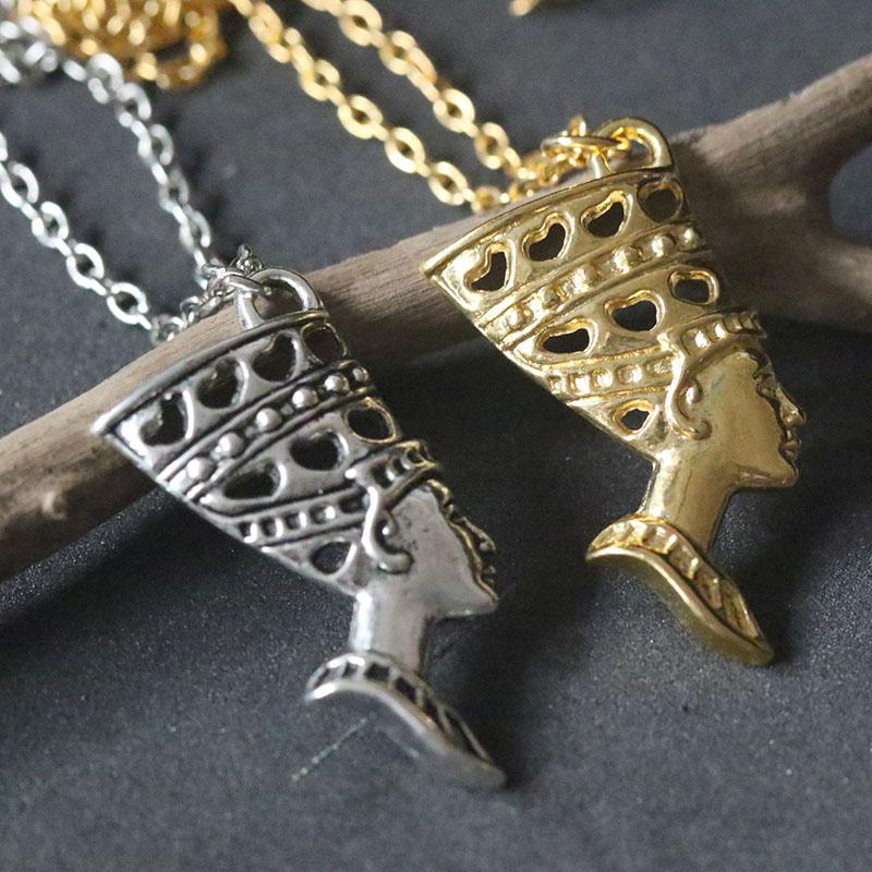 Egyptian Queen Nefertiti Sculpture Pendant Necklace Alloy Chain Charm Jewelry