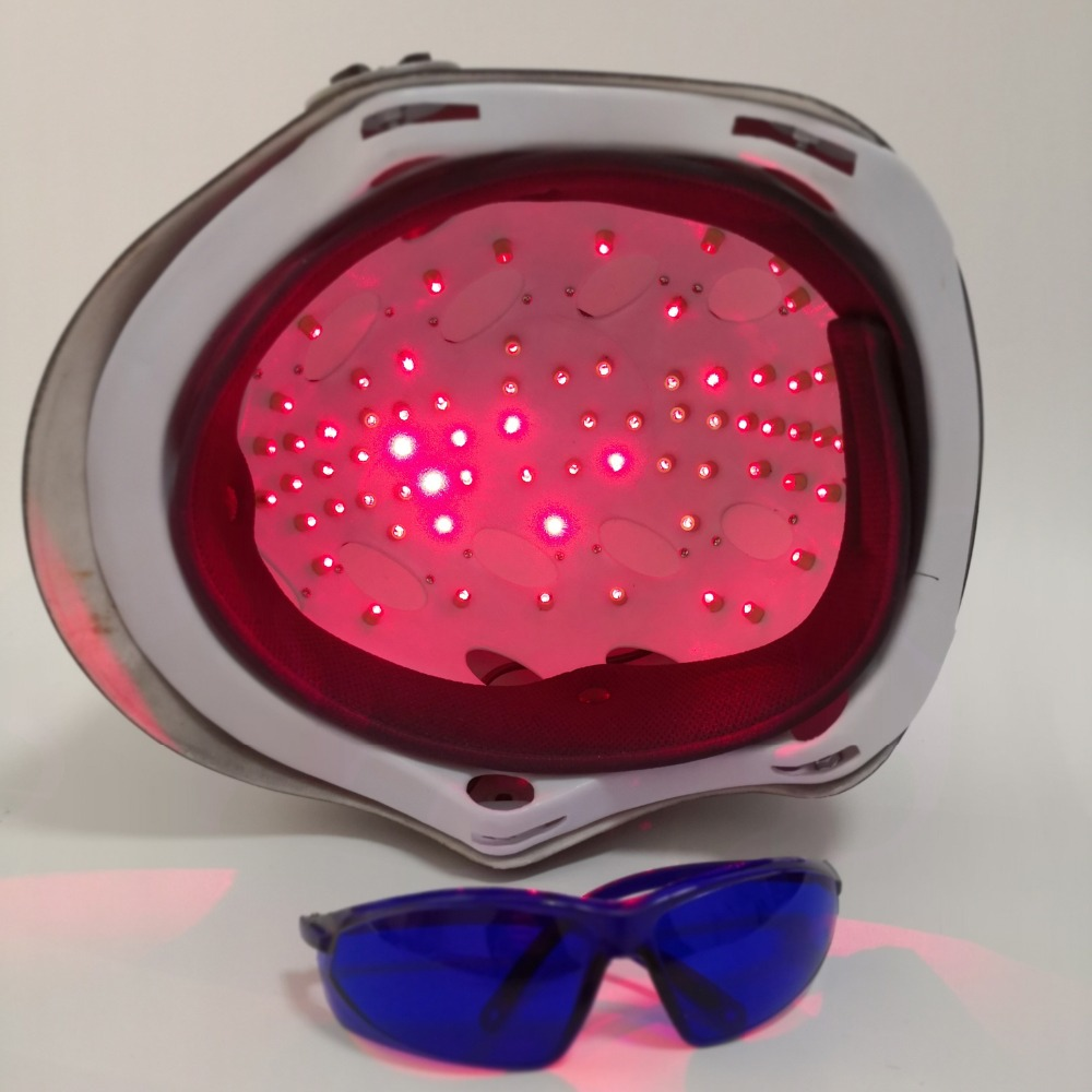 LLLT Therapy for hair loss treatment 650nm 68 diode laser helmet hair regrowth with glasses
