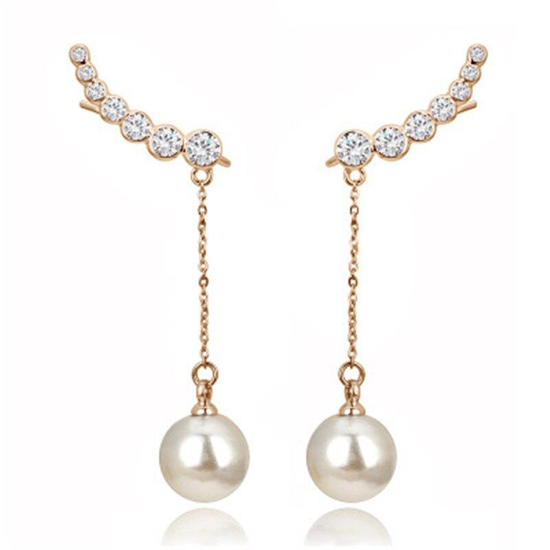 PISSENLIT Rhinestone Long Drop Earrings Gold Silver Women Jewelry Wing Elegant Korean Pearl Earring Accessories