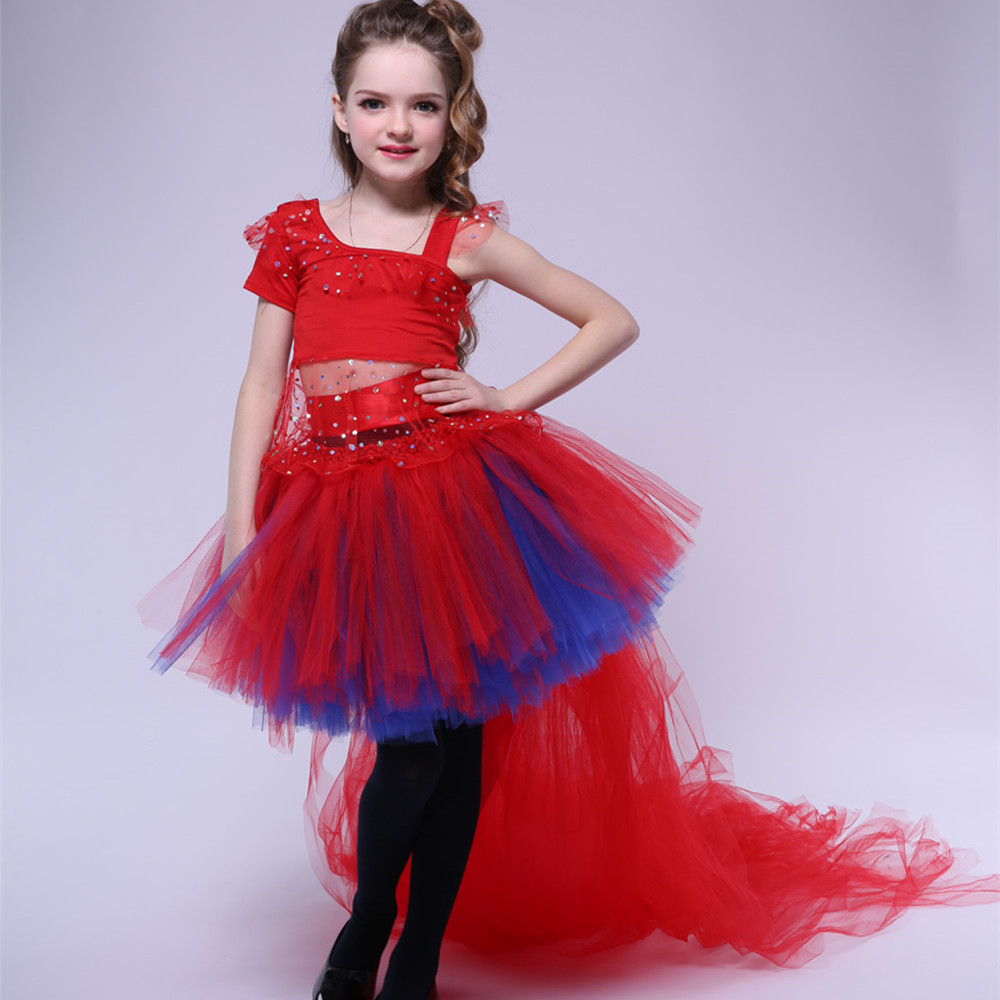 Latin Dance Girls Dress Children Festival Party Prom Performance Dresses Kids Girl Trailing Tulle Tutu Dress Princess Ball Gown kids dresses for girls girl dress free shipping2010 fashion dance dress performance wear leotard 085 hair accessory oversleeps