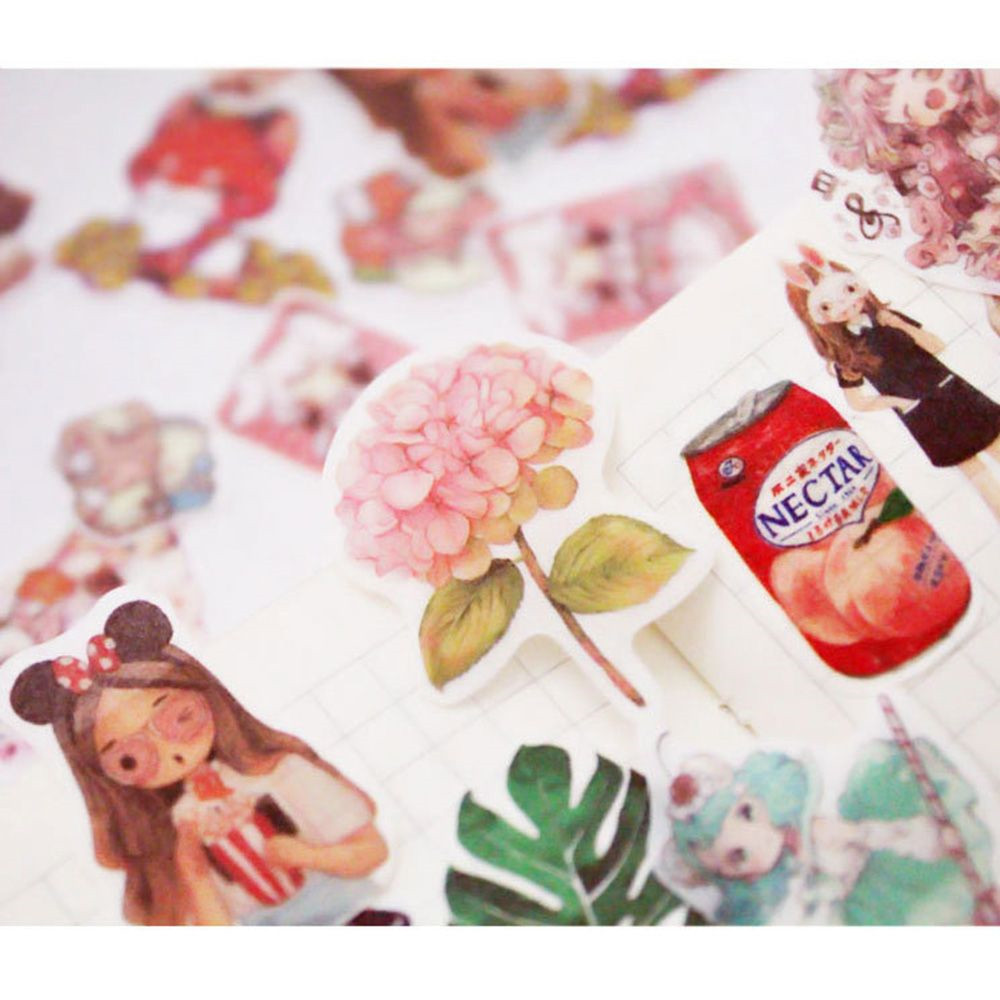 100pcs/pack Flowers Totem Memo Stickers Pack Kawaii Delicious Food Planner Scrapbooking Stickers Stationery School Supplies