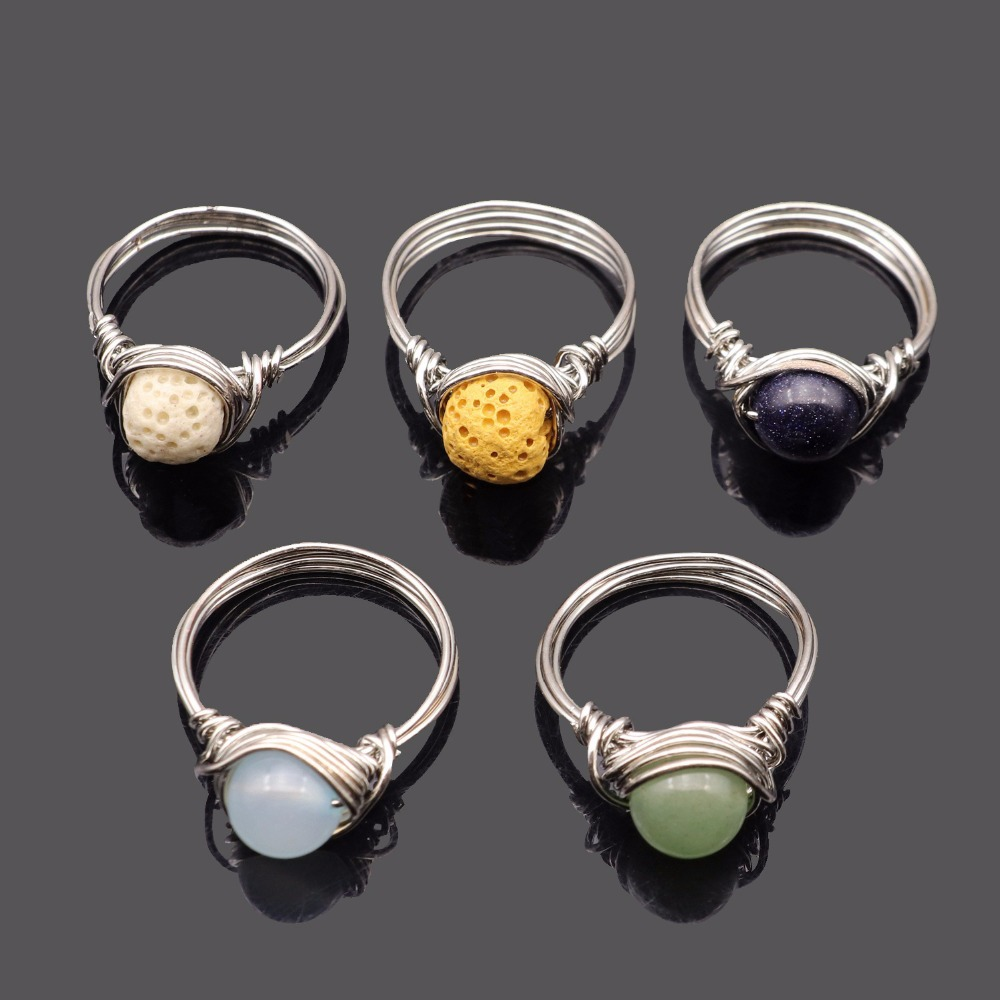 Us 2 51 35 Off Handmade Wire Wred Silver Color Plated Circle Rings Natural Amethysts Agates Quartz Stone Finger Party Women Jewelry In