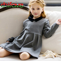 2017 Cute Baby Girls Dress Peter Pan Collar Full Length Sleeve Ruched A-Line Dress Fashion Chilren Clothes Suit 3-7 Ages Girls