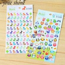 2pcsCreative Cute Cartoon Paper Childrens Decorative Stickers DIY Decoration Notebook Student Stationery Giraffe/Owl