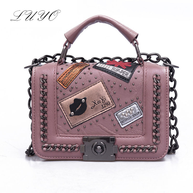 Luyo Chain Bag 2017 New Vintage Leather Woman Hard Trunk Handbags Shoulder Women Crossbody Messenger Small Bags Female  Hip-hop 2017 casual women handbags chain bag rabbit bunny ears cute shoulder bags crossbody bags pu leather spring young woman handbags