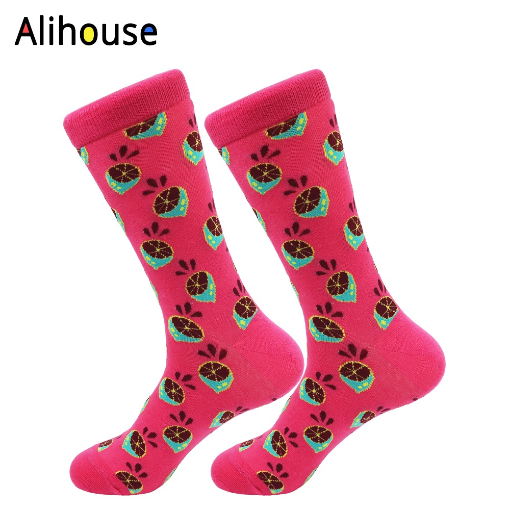 Alihouse Mens Funny Colorful Strawberry Pattern Combed Cotton Breathable Socks Casual Crew Socks Happy Socks Funny for Gifts