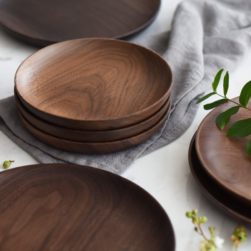 Natural Round Wooden Plates Black Walnut Wood Tray Cake Snack Plate Dessert Serving Tray Dishes Wood Utensils Tableware Gifts
