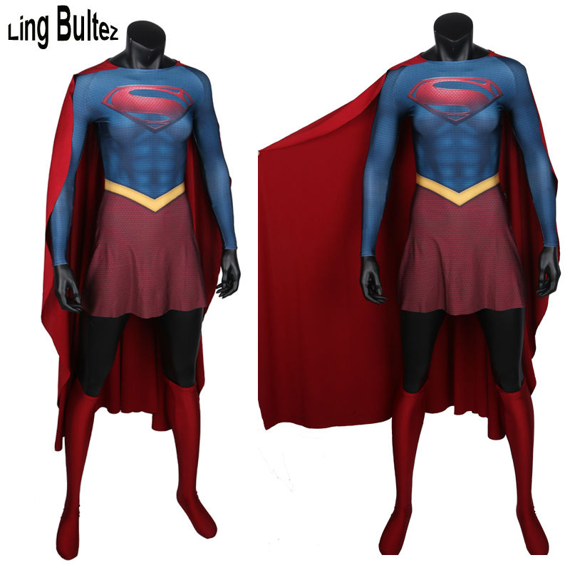 Ling Bultez di Alta Qualità Super Girl Costume Con Muscolare Ombra Spandex Super Donna Spandex Tuta Con Capo