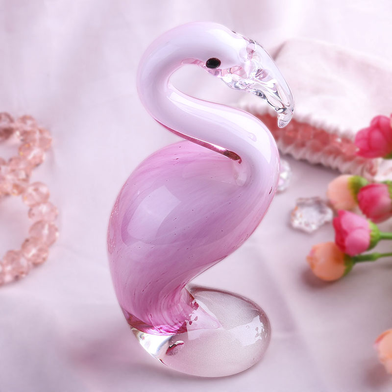 H D Hand Blown Pink Flamingo 6 6 Murano Style Art Glass Figurine Gift For Christmas Birthday Home Decor Figurines Miniatures Aliexpress