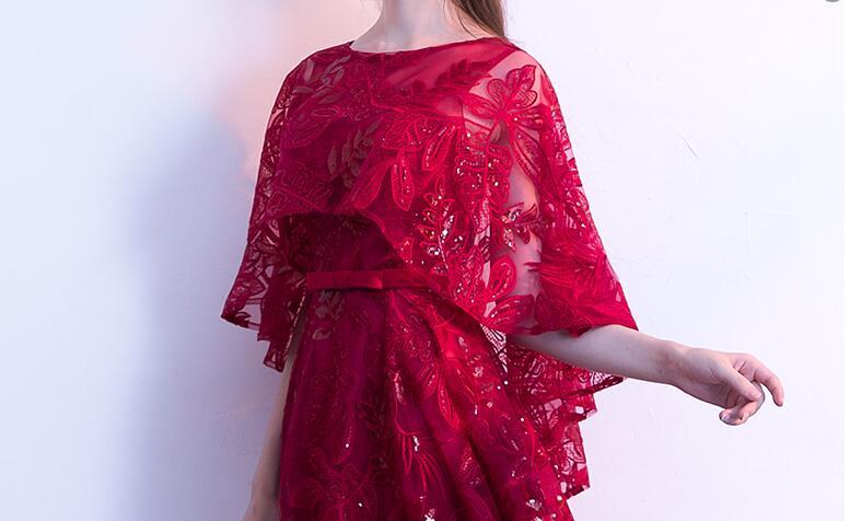 Dentelle sequin robe de bal 2019 élégant cape manches graduation robes de soirée longues robes de soirée formelle robe de soirée Vestido de festa - 5