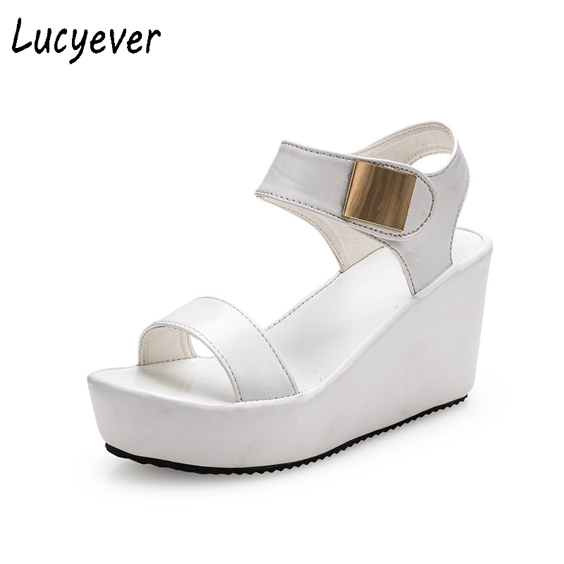 Lucyever 2017 Summer High Platform Wedges Sandals Fashion Women's Concise Open toe PU Leather Casual Shoes Woman Black White phyanic 2017 gladiator sandals gold silver shoes woman summer platform wedges glitters creepers casual women shoes phy3323