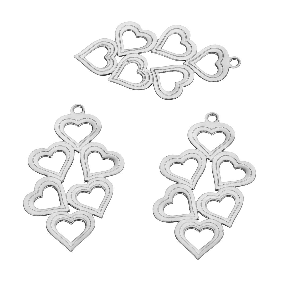 10PCS Stainless Steel Hollow Heart Charm Pendants For Jewellery Making DIY Crafting 29mmx16mm