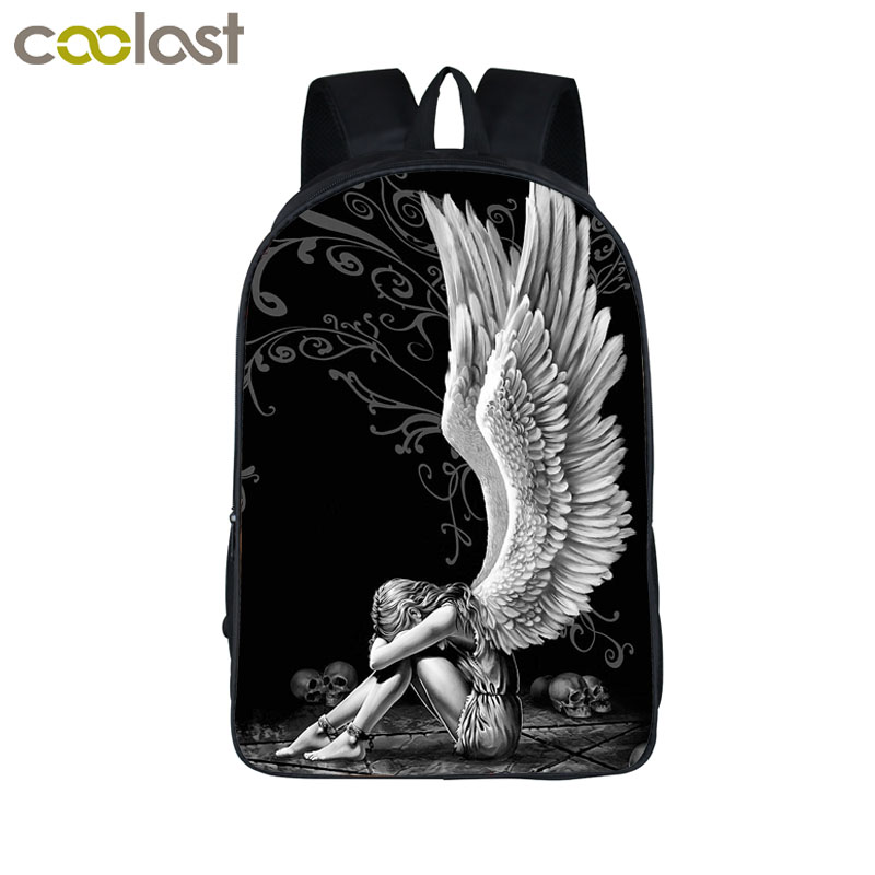 Coolost Design Sad Angel Wing Backpack Boys Girls School Bags For Teenage Women Laptop Backpacks Children Schoolbags Best Gift funny cartoon game over backpack for teenage boys girls children school bags kids backpack laptop shoulder bags best gift