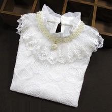 Белая блузка для девочек-подростков кружевные рубашки топы, осенне-зимняя детская рубашка хлопковая футболка с длинными рукавами для детей 6, 8, 10, 12 лет