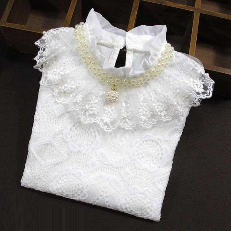 Bebek yürümeye başlayan genç okul kız beyaz dantel gömlek Tops sonbahar kış çocuk gömlek pamuklu uzun kollutişört T-shirt 6 8 10 12 yıl