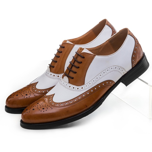 Large Size EUR45 Black White / Brown White Oxfords Mens Wedding Shoes Genuine Leather Dress Shoes Boys Formal Prom Shoes
