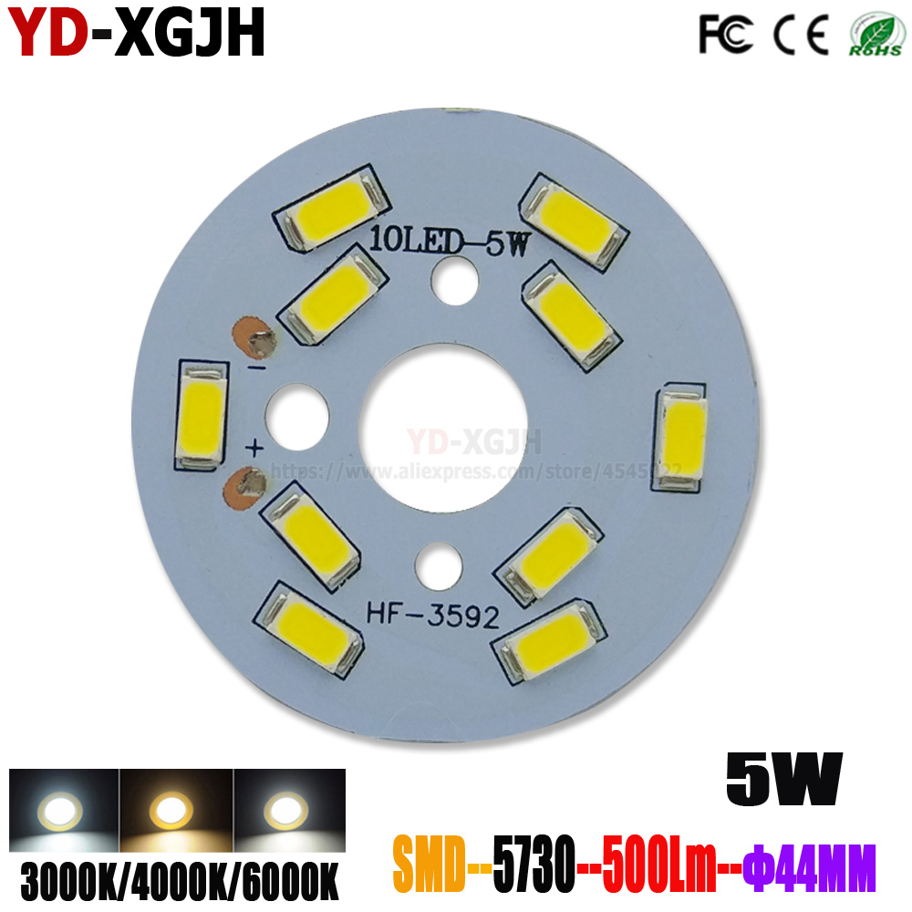 10P LED PCB Light Board Installed SMD 5730 LED Chips Aluminum Lamp Plate 5W 44mm Warm/Natural/White For Crystal Light Bulb DIY