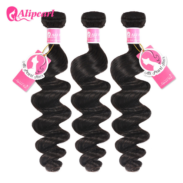 Ali Pearl Hair Loose Wave Bundles Peruvian Human Hair Weave Bundles 3 Pcs Weft Remy Hair Extensions Natural Black by Ali Pearl