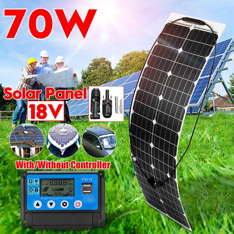 70W Solar Battery Flexible Solar Panel +10/20/30/40/50A USB PWM Regulator Controller Solar System Kits For Fishing Boat Camping