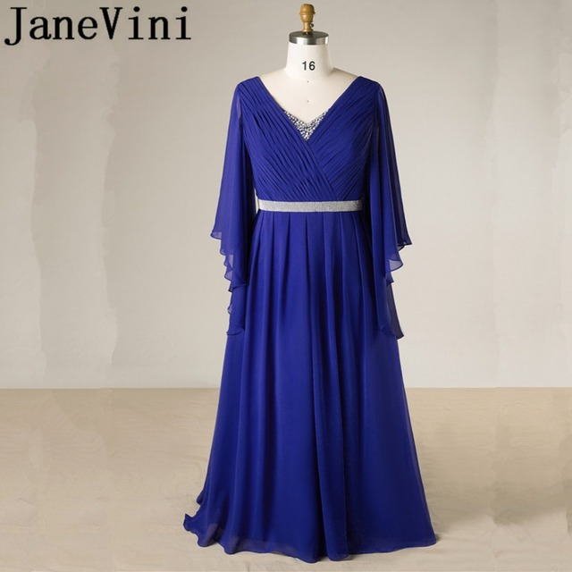 JaneVini Royal Blue Crystal Mother Of The Bride Dresses A-Line Long Sleeves V-Neck Chiffon Formal Evening Party Gowns Plus Size