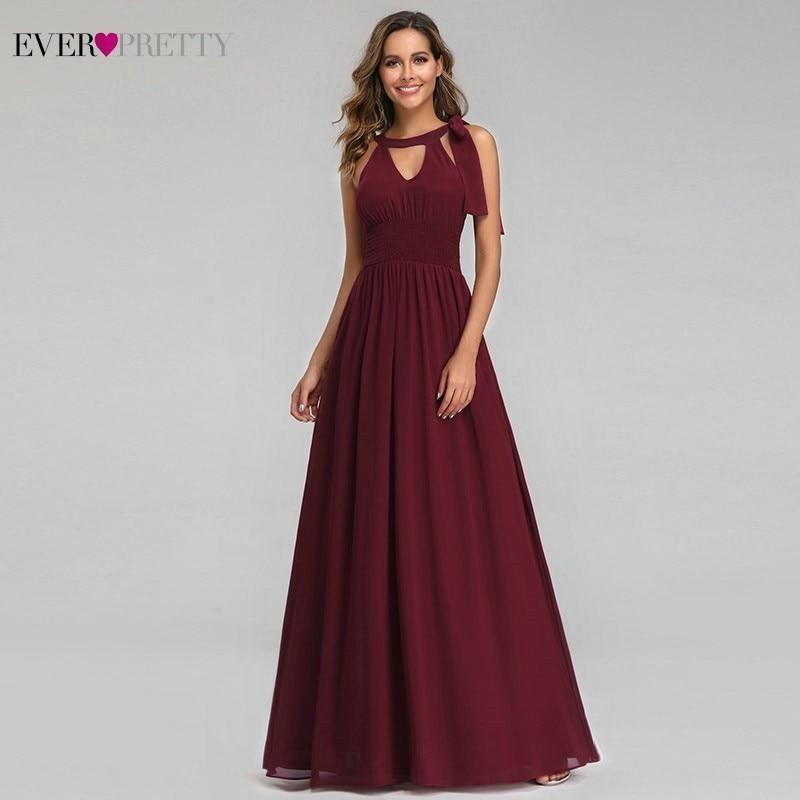 Ever Pretty Burgundy Bridesmaid Dresses A-Line Halter Cheap Chiffon Wedding Guest Dresses EZ07656BD Vestido De Festa Longo 2019