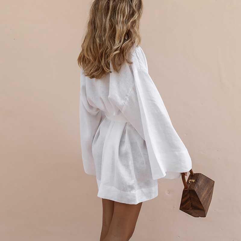 Женское кимоно с v-образным вырезом, кардиган, мини-платье, белый Хлопковый льняной комбинезон для новорожденных с длинными рукавами, кружевные платья для женщин 2019, летние свободные платья