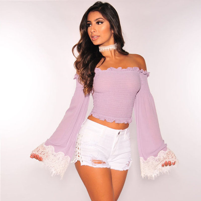 3286ebebe1004 Elegant Sexy Off Shoulder Top Beading Women Blouse Shirt Autumn 2017 Blue  Purple Blusas Female Lace Blouses Beach Casual Tops