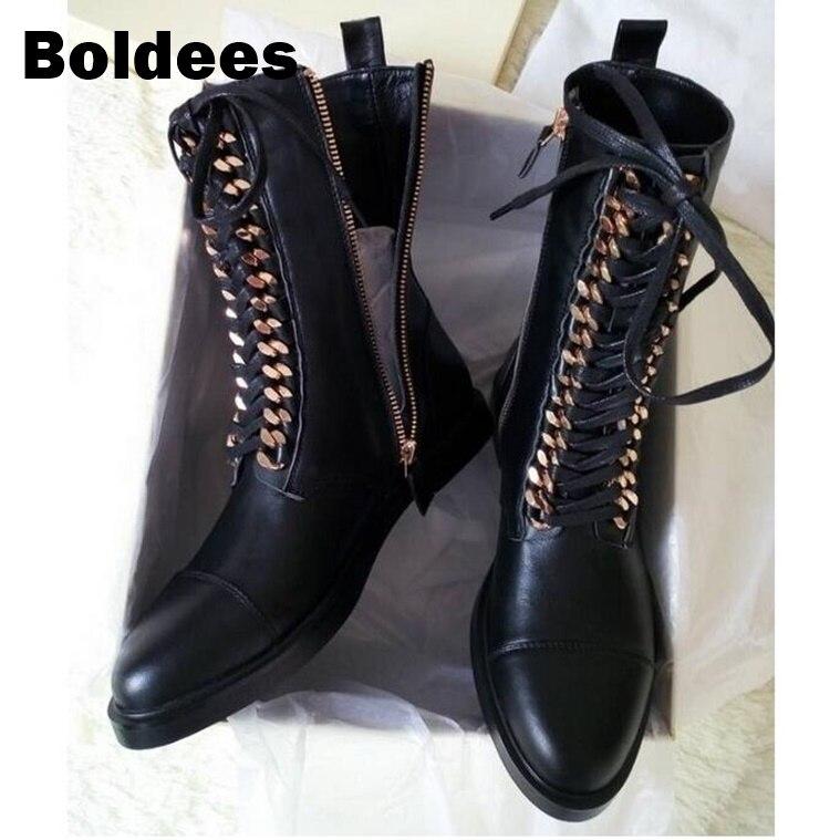 Осень зима до середины икры черные кожаные мотоботы обувь Для женщин цепи на шнуровке полусапожки не сужающийся к низу каблук Большие разме