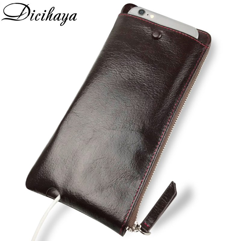 DICIHAYA Genuine Leather Wallet Men Cow Leather Zipper Wallets Business Purse Brand Design High Quality Cutch Wallet Phone Bag