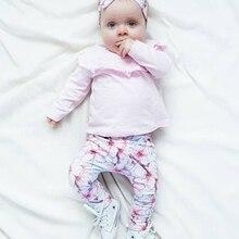 Cute Fold Ruffle 3Pcs Newborn Baby Girls Clothes Set Long Sleeve T-shirt+Casual Flowers