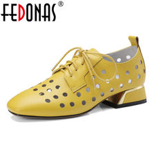 FEDONAS Fashion Women Pumps Sandals Low Heel Summer Autumn Cut-outs Wedding Shoes Woman Sexy Party Solid Ladies Pumps(China)